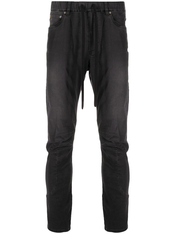 Attachment Drawstring Elasticated Jeans In Black