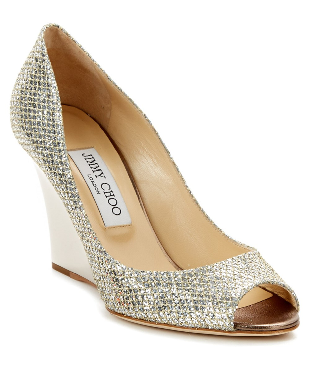 cd04a6cea20 Jimmy Choo Baxen Glitter Fabric Peep Toe Wedge In Khaki