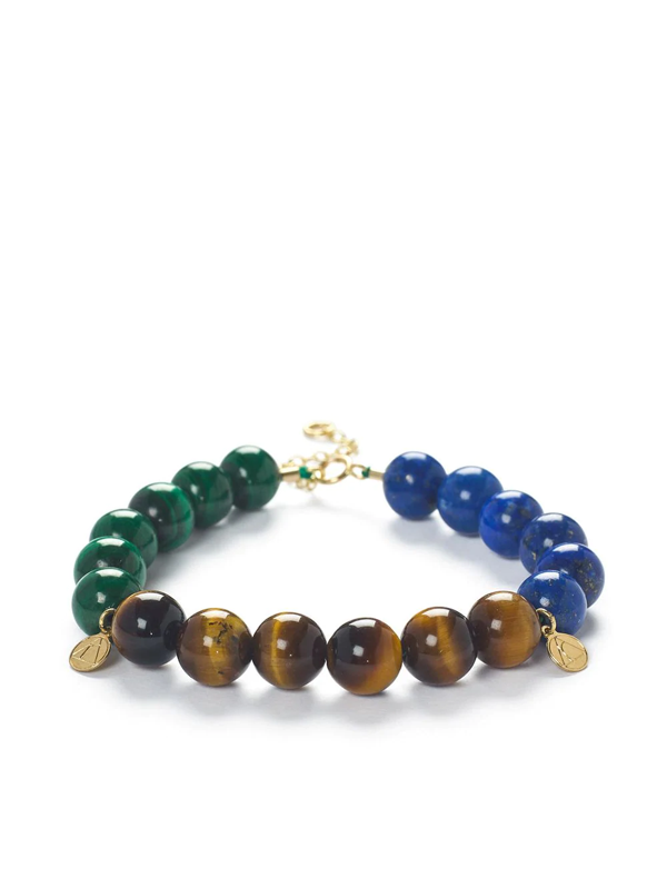 The Alkemistry Cinta 18ct Yellow Gold Multicolour Beaded Bracelet In Brown