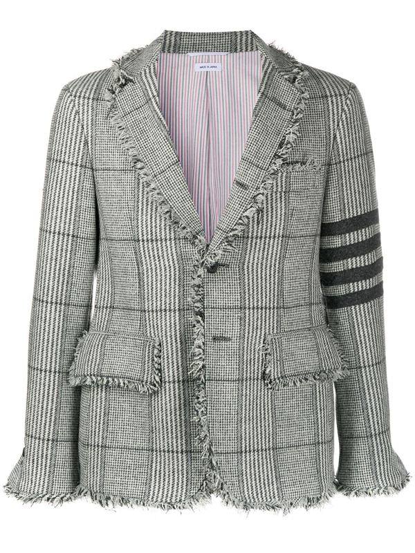 Thom Browne Unconstructed 4-bar Frayed Check Jacket In Grey