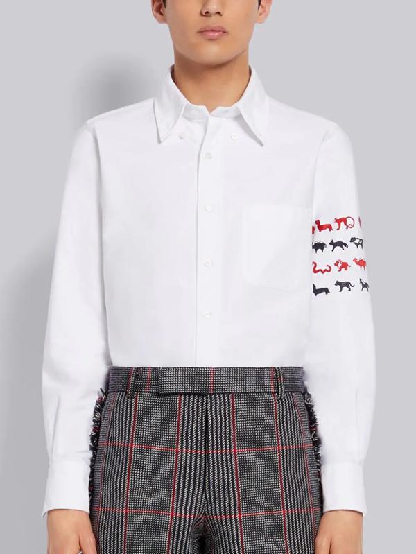 Thom Browne Animal Icon 4-bar Shirt In White