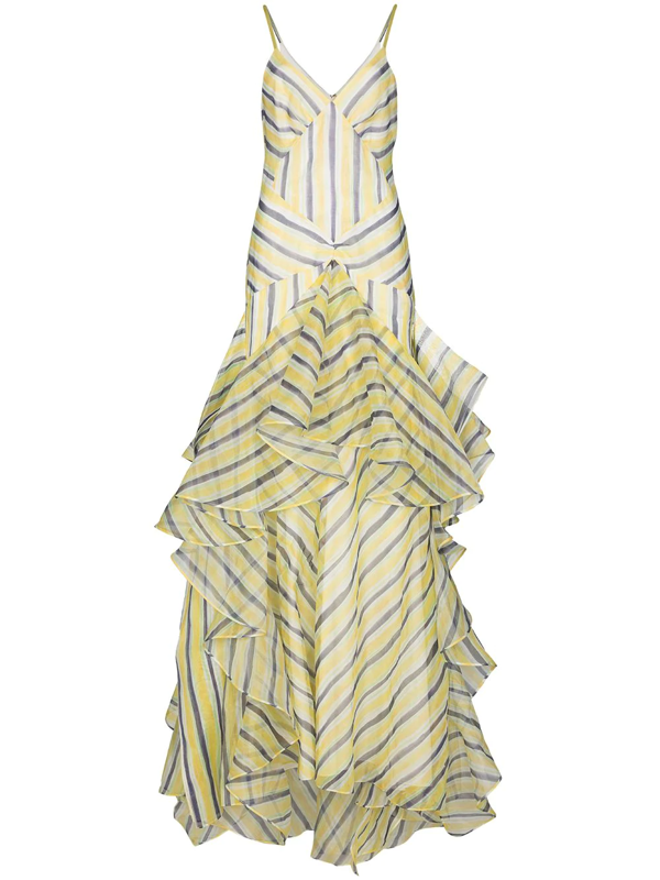 Rosie Assoulin Watercolour Stripe Tiered Gown In Yellow