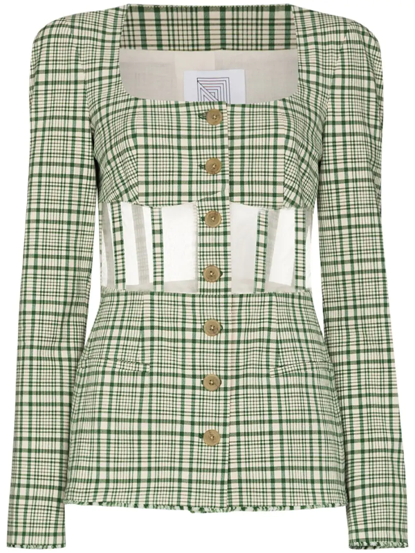 Rosie Assoulin Green Checked Cutout Corset Blazer