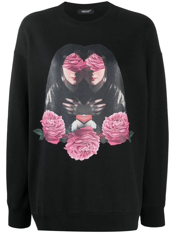 Undercover Graphic Oversize Cotton Sweatshirt In Black