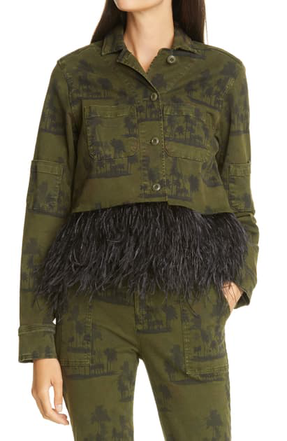 Le Superbe Freebird Palm Print Feather Hem Army Jacket In Overdye Coastal Palm
