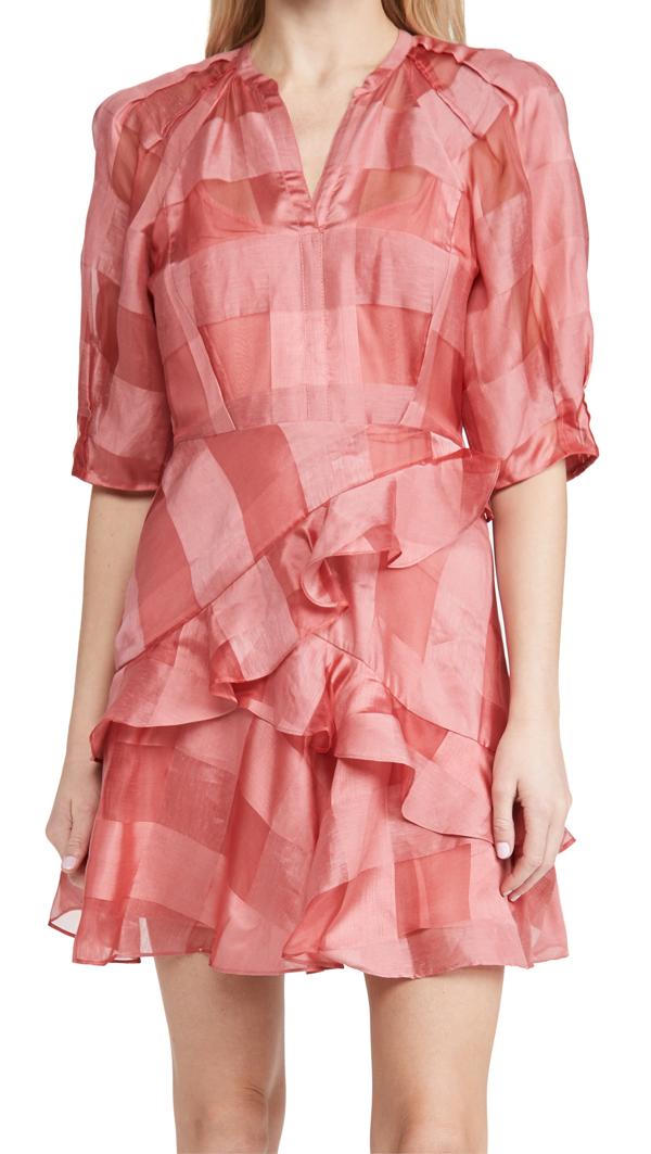 Rebecca Taylor Women's Organza Check Long-sleeve Dress In Kiss