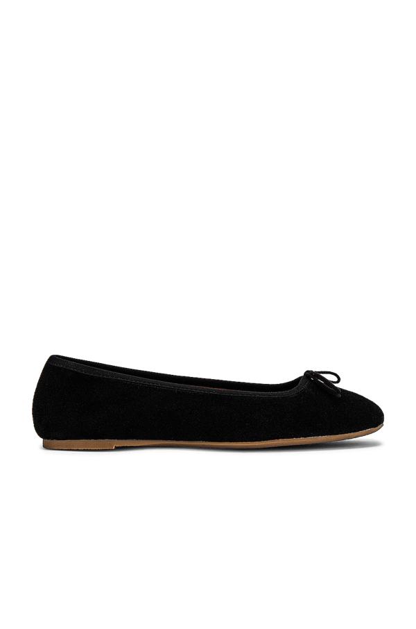 Soludos Darby Ballet Flat In Black Suede