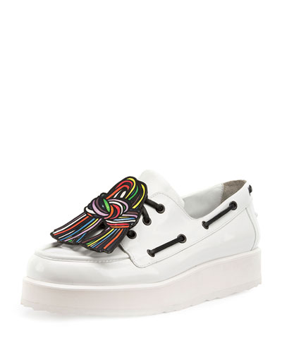 Pierre Hardy Knot Print Patent Leather Platform Loafers In White