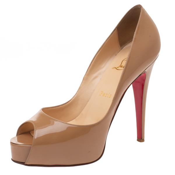 Pre-owned Christian Louboutin Beige Patent Leather New Very Prive Peep Toe Platform Pumps Size 38