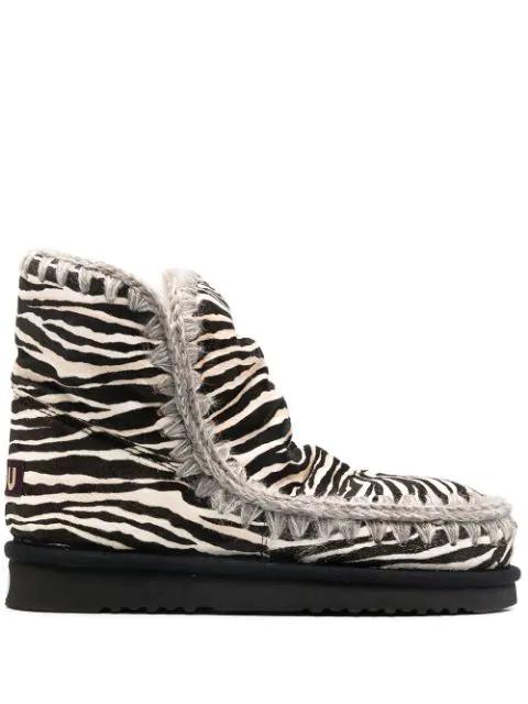 Mou Eskimo 'eskimo 18 Ponyskin' Zebra Print Ankle Boot In Black