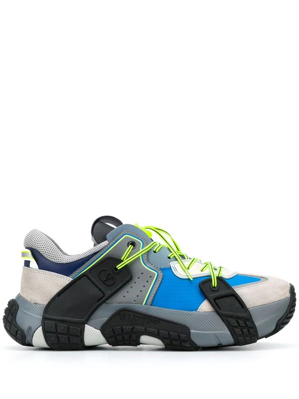 Valentino Garavani Vltn Wod Multicolor Fabric Sneakers In Blue/ Grey