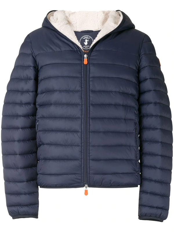 Save The Duck Giga Waterproof Faux Shearling Lined Puffer Jacket In Navy Blue