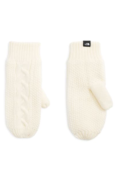The North Face Minna Cable Knit Mittens In Vintage White
