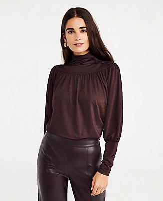 Ann Taylor Petite Shimmer Button Shirred Turtleneck Top In Black