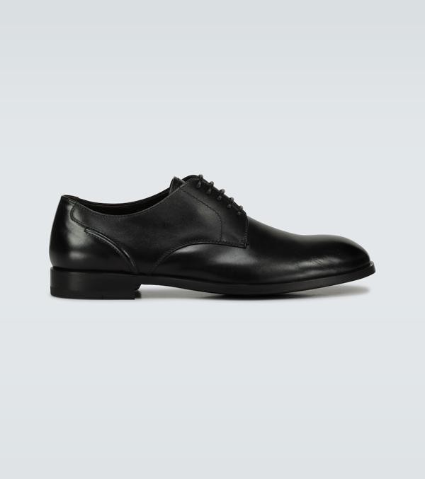 Ermenegildo Zegna Siena Flex Leather Derby Shoes In Black