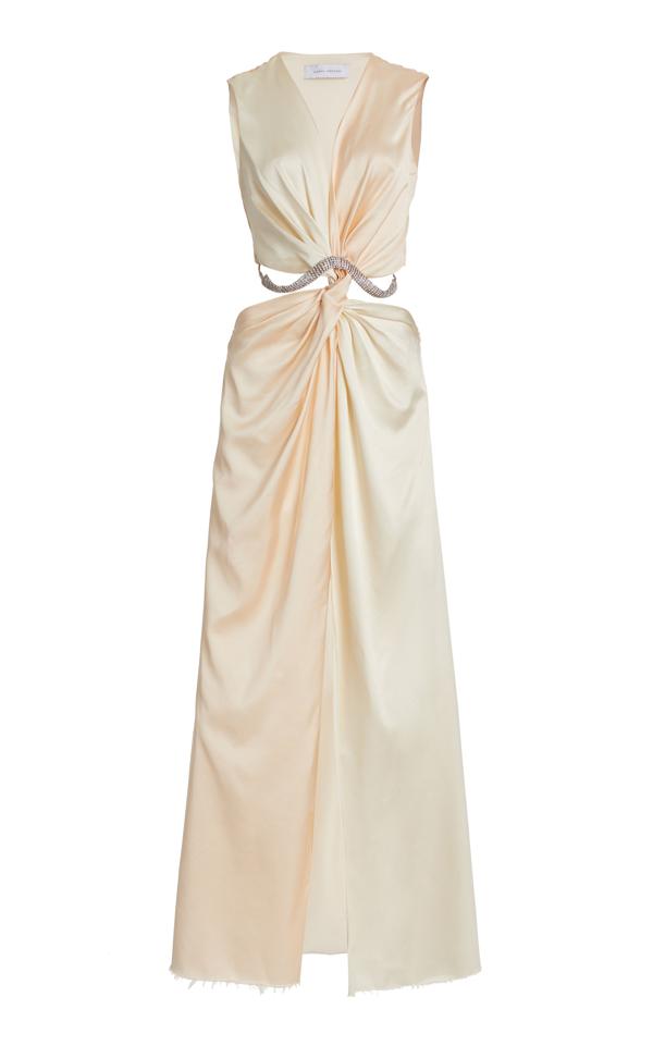 Marina Moscone Cutout Twisted Satin Maxi Dress In Neutral