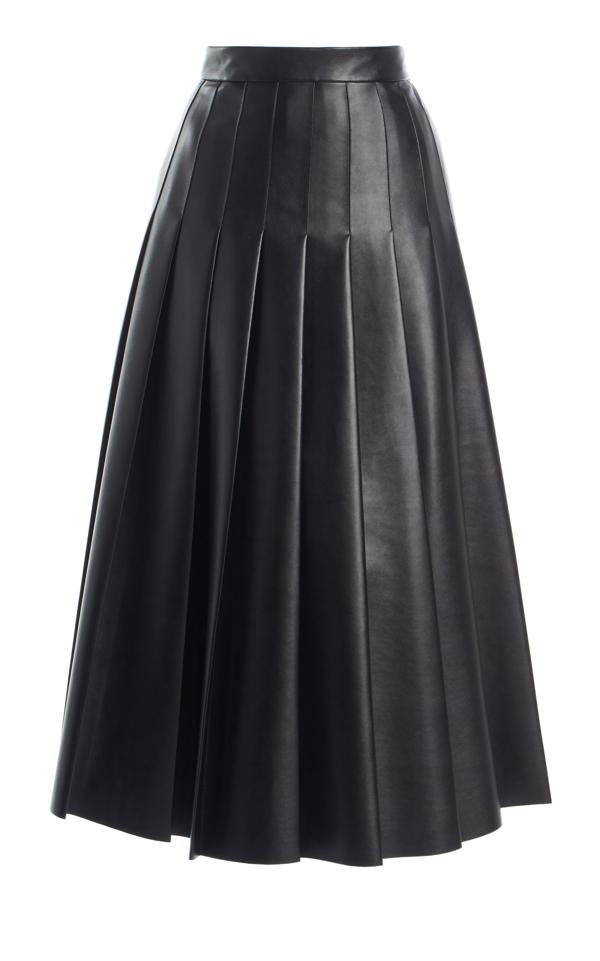 Emilia Wickstead Gretchen Pleated Faux Leather Skirt In Black