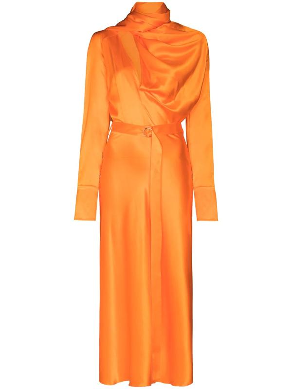 Materiel Belted Scarf-neck Silk Midi Dress In Orange
