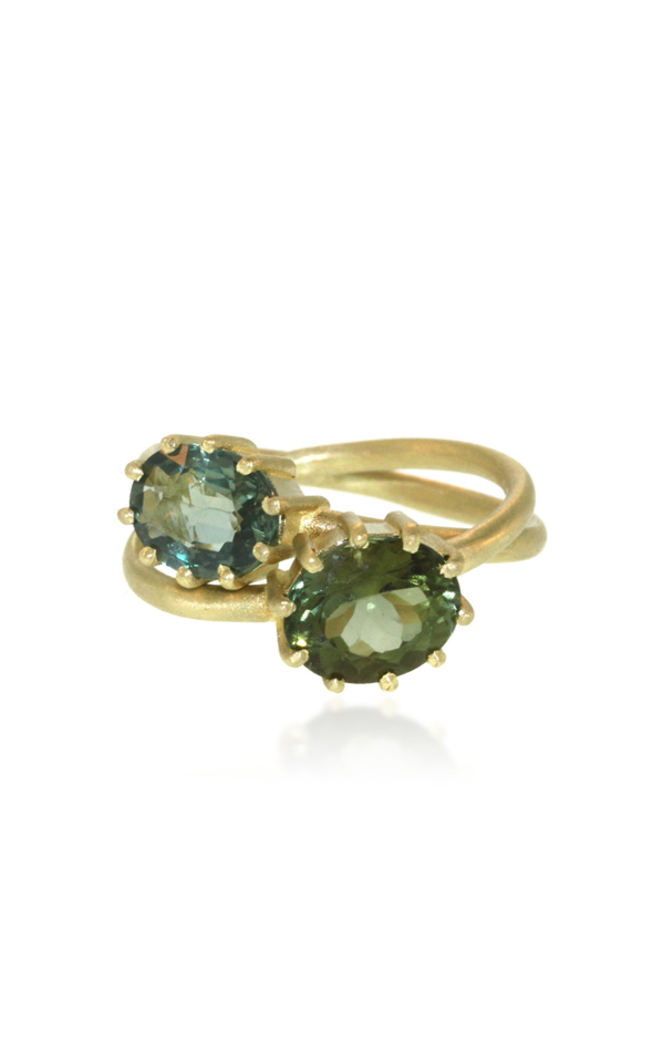 Lfrank Entwined 18k Yellow Gold Tourmaline Ring In Green