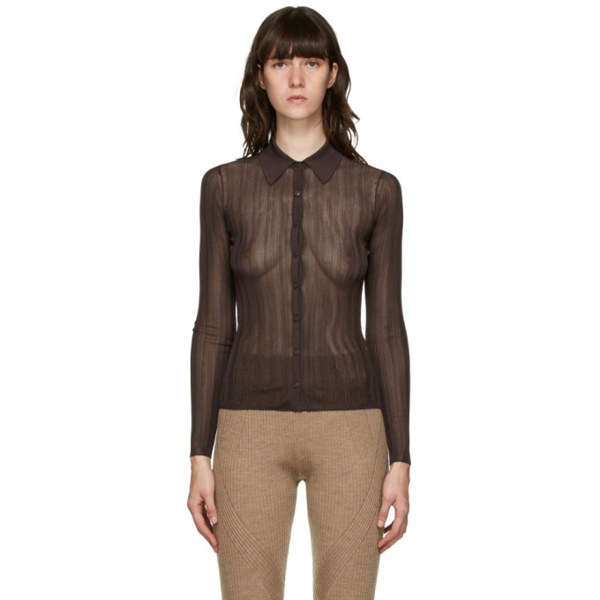 Rag & Bone Pacey Ribbed-knit Shirt In 201 Dkbrw