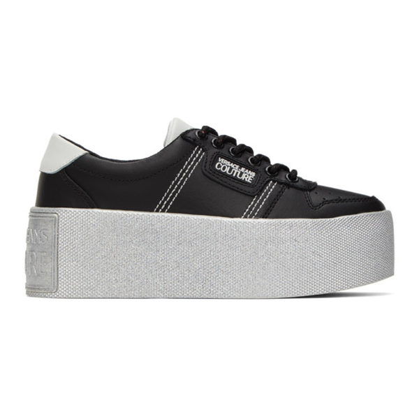 Versace Jeans Couture Platform Sole Leather Low-top Sneakers In E899 Black