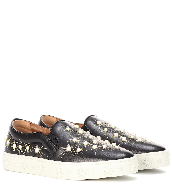 Aquazzura Cosmic Embellished Embroidered Leather Slip-On Sneakers In Black