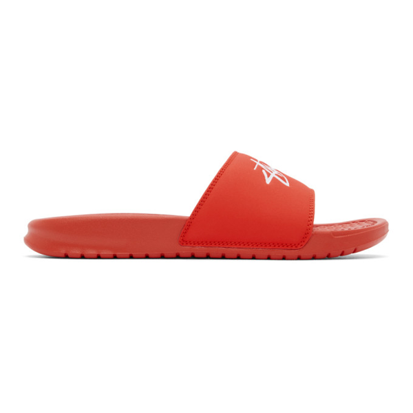 Nike Red Stussy Edition Benassi Sandals In Red/white