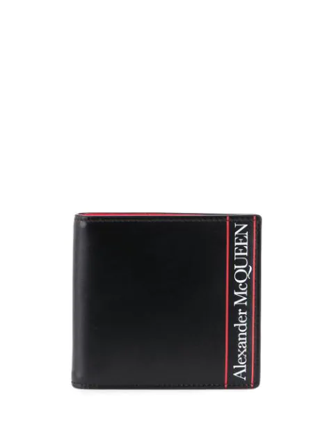 Alexander Mcqueen 8cc Graffiti Billfold Wallet In Black