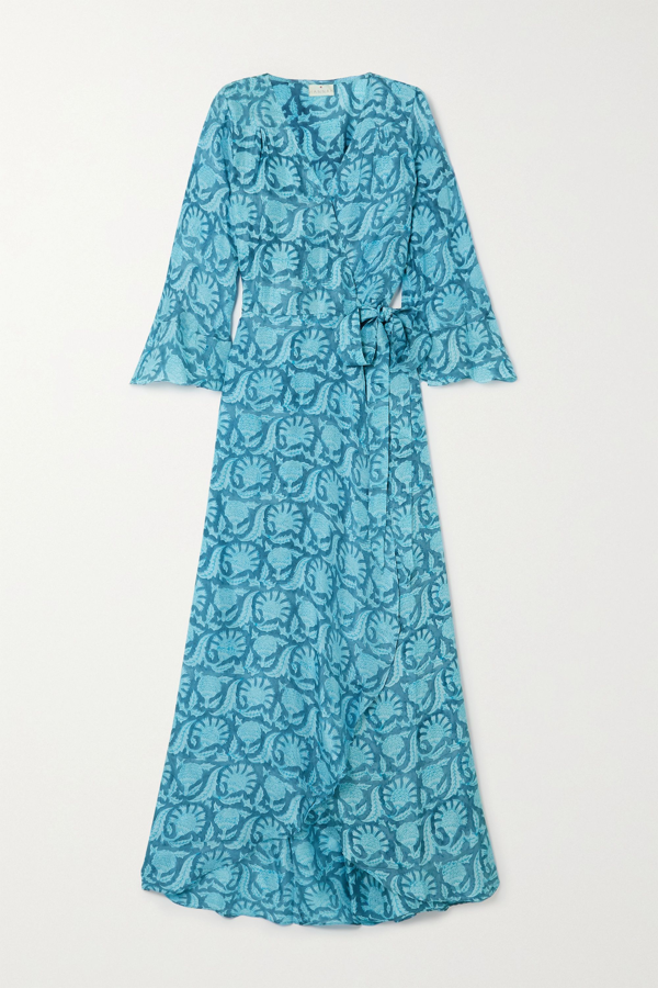Hannah Artwear Luna Floral-print Silk Crepe De Chine Wrap Maxi Dress In Blue