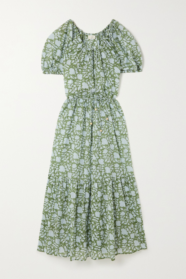 Hannah Artwear + Net Sustain Lotus Belted Tiered Printed Cotton Maxi Dress In Green