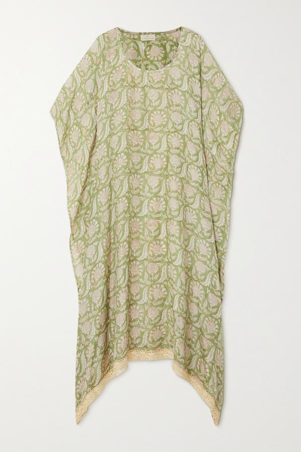 Hannah Artwear + Net Sustain Shanti Crochet-trimmed Printed Silk Kaftan In Green