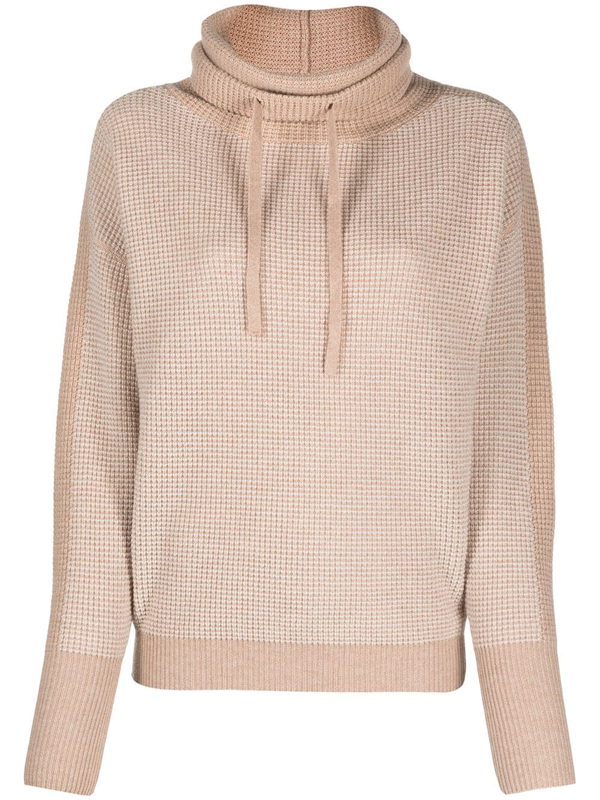 Eres Kiosque Waffle-knit Wool And Cashmere-blend Turtleneck Sweater In Neutrals