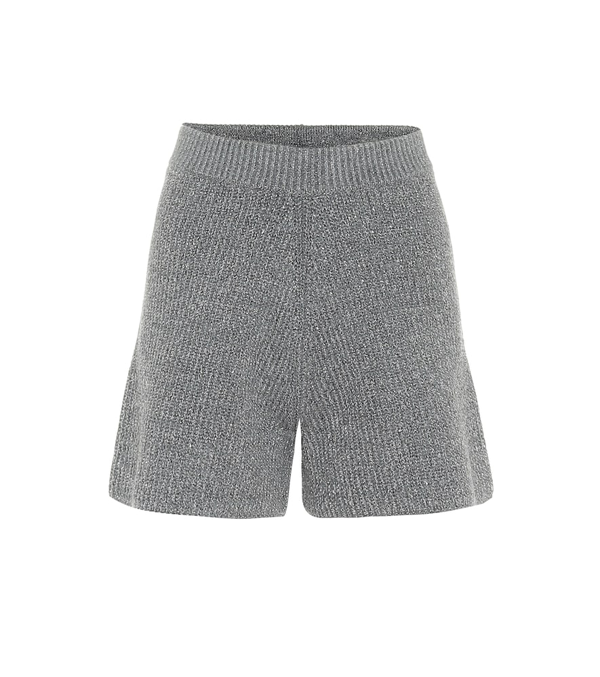 Alanui Space Invaders Wool-blend Shorts In Grey