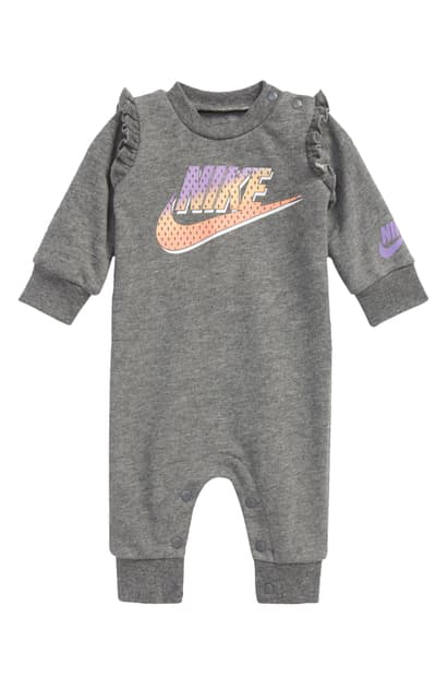 Nike Babies' Futura Ruffle Cotton Blend Romper In Carbon Heather