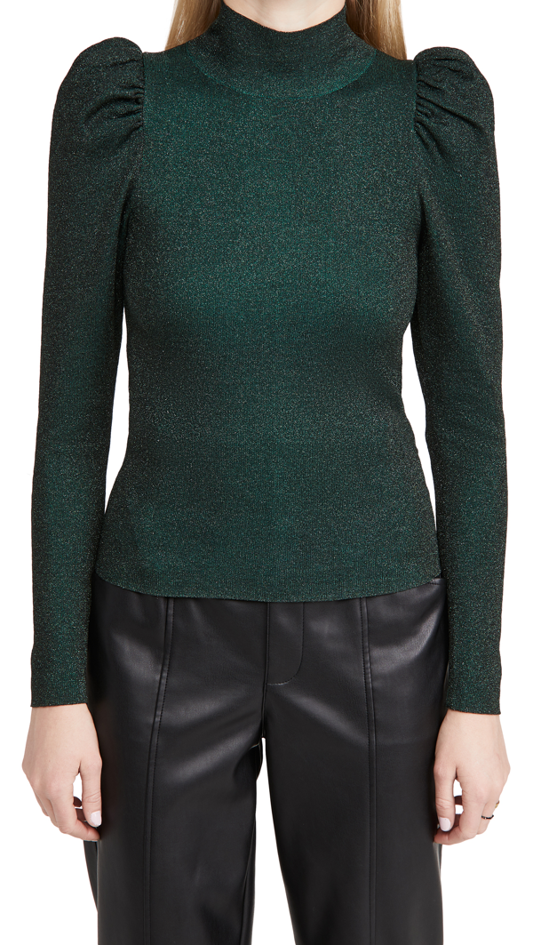 Alice And Olivia Issa Turtleneck Puff Sleeve Fitted Pullover In Dark Teal