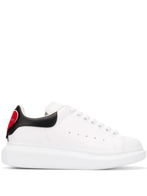 Alexander Mcqueen 45mm Heart Patch Leather Sneakers In 9043 Red/bl