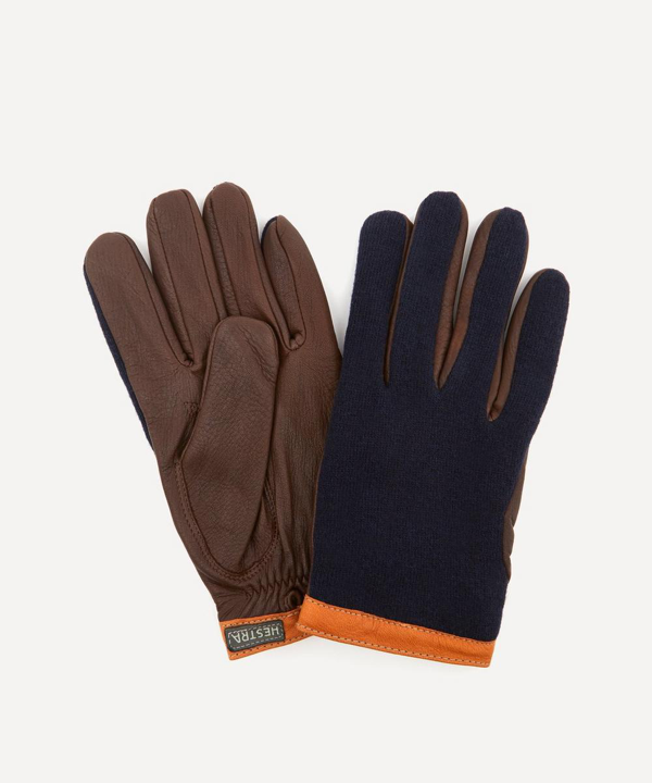 Hestra Gloves Tricot Deerskin Wool Gloves In Navy/chocolate