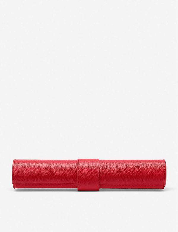 Smythson Panama Travel Backgammon Roll In Scarlet Red