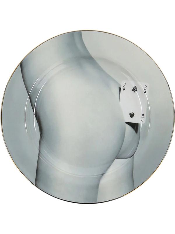 Seletti Wears Toiletpaper Porcelain Two Of Spades Plate 27cm In Grey