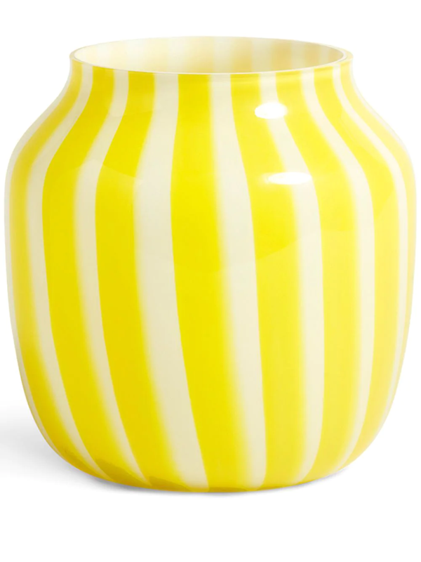 Hay Juice Wide Striped Glass Vase 22cm In Yellow