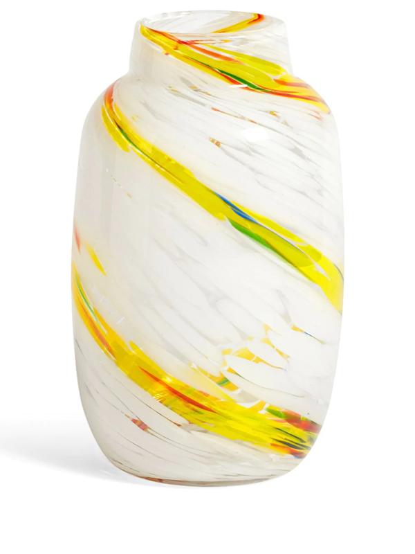 Hay Splash Swirl-pattern Glass Vase 23cm In White