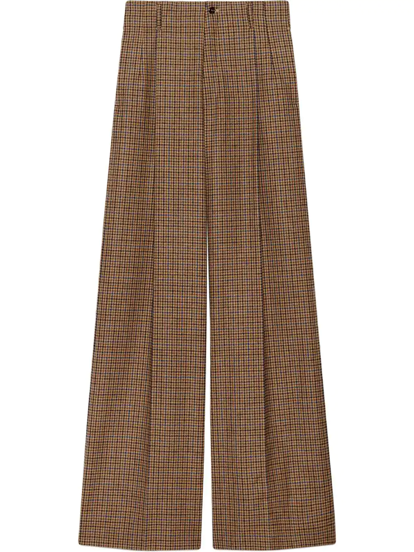 Gucci Houndstooth Wool Wide-leg Pant In Brown