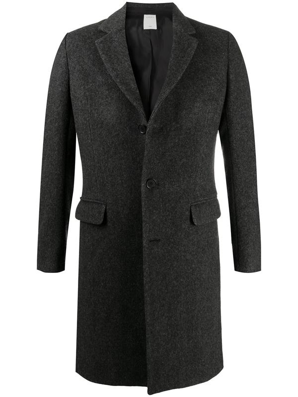 Sandro Apollo Chevron Long Wool Blend Coat In Grey