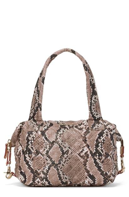 Mz Wallace Brown Snake Print Medium Sutton Bag