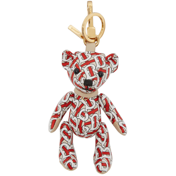 Burberry Thomas Tb Monogram-print Leather Key Ring In Red
