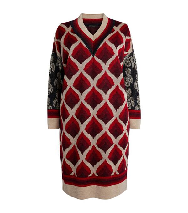 Marina Rinaldi Lurex Sweater Dress In Bordeaux