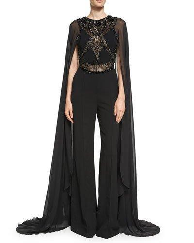 ad427d67cd5 Elie Saab Embellished Crepe And Chiffon Jumpsuit In Black