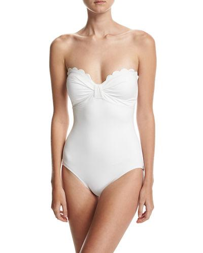 62ce3bd053d2a Kate Spade Strapless Bow Bandeau One-Piece Swimsuit In White | ModeSens
