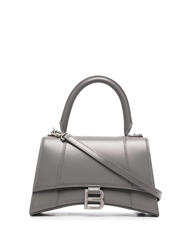 Balenciaga 'hourglass Small' Leather Shoulder Bag In Grey