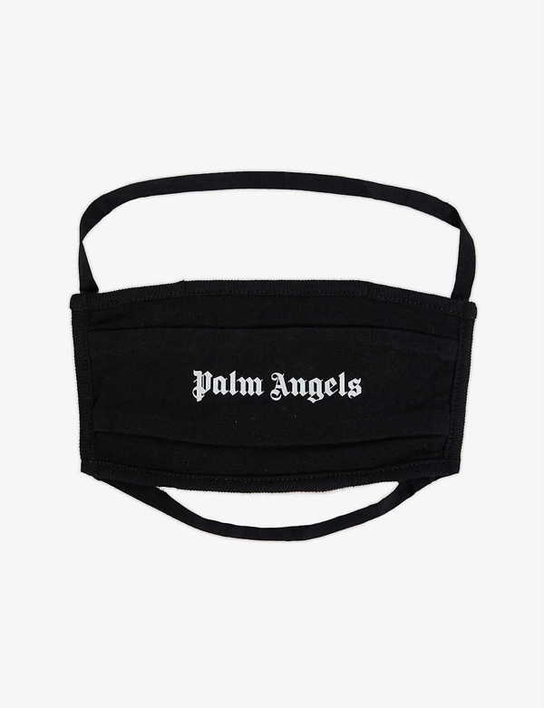 Palm Angels Logo-print Cotton Face Covering In Black White